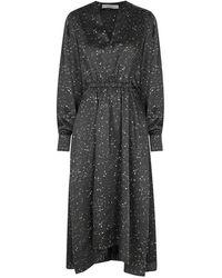 Vince - Constellation-print Satin Midi Dress - Lyst