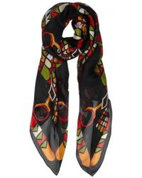 Givenchy - Egyptian Falcons Printed Silk Chiffon Scarf - Lyst