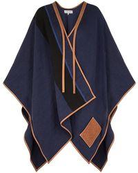 Loewe Striped Leather-trimmed Linen-blend Cape - Black