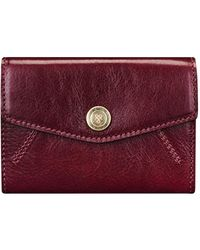 Maxwell Scott Bags Maxwell-scott Small Italian Leather Purse - The Fontanelle Wine - Red
