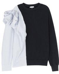 CLU - Pinstripe Bow Appliqué Cotton Sweatshirt - Lyst