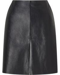 Jigsaw Mini Pleat Front Leather Skirt - Black