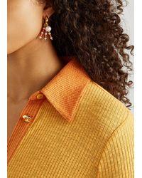 Timeless Pearly Asymmetric 24kt Gold-plated Hoop Earrings - Orange