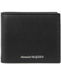 Alexander McQueen - Black Grained Leather Wallet - Lyst