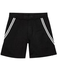 Neil Barrett Black Striped Stretch-jersey Shorts