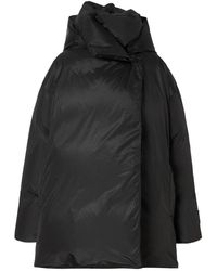 Burberry Detachable Hood Down-filled Oversized Wrap Coat - Black