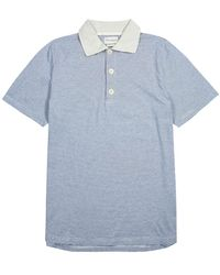Oliver Spencer Tabley Striped Cotton Polo Shirt - Blue