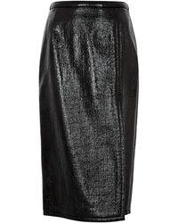N°21 Black Pvc-coated Pencil Skirt