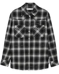 Off-White c/o Virgil Abloh Monochrome Checked Flannel Shirt - Black