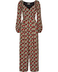 Traffic People Snare Long Sleeve Floral Jumpsuit In Red