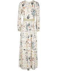 Tory Burch - Cream Printed Silk Maxi Dress - Lyst
