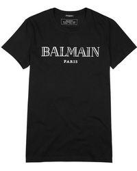 Balmain - Black Logo-print Cotton T-shirt - Lyst