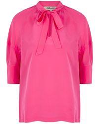 Diane von Furstenberg Lynn Pink Silk Crepe De Chine Blouse