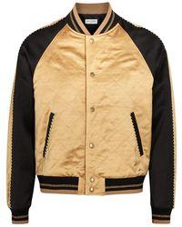 Saint Laurent Paneled Satin Bomber Jacket - Black