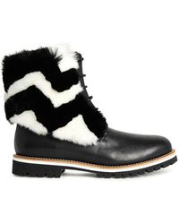 Mr & Mrs Italy - Black Fur-embellished Leather Ankle Boots - Lyst