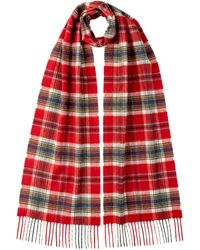 Johnstons Maclean Of Duart Tartan Classic Cashmere Scarf - Red