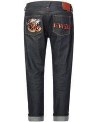 Evisu Tiger Head And Logo Embroidered Pockets Slim Fit Jeans - Blue