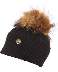 75fb42e32 Angora Pom Pom Hat - Black With Natural