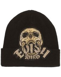 Evisu Skull And Logo Appliqu D Beanie - Black