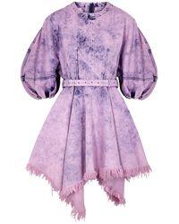 Marques'Almeida Purple Bleached Belted Denim Mini Dress