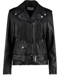 MICHAEL Michael Kors Fringed Leather Moto Jacket - Black