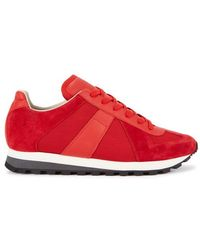 Maison Margiela - Retro Runner Red Suede Trainers - Lyst