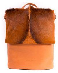 Sherene Melinda - Orange Leather Backpack With A Fan - Lyst