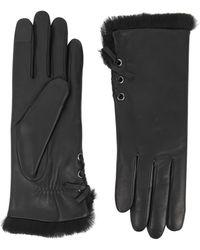 Agnelle Aliette Fur-lined Leather Gloves - Black