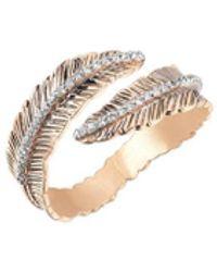 Kismet by Milka 14ct Rose Gold Diamond Double Row Feather Pinky Ring - Metallic