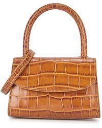 BY FAR Mini Crocodile-effect Top Handle Bag - Brown