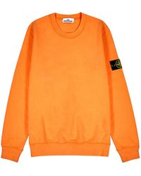 Stone Island Orange Cotton Sweatshirt