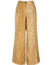 La Prestic Ouiston Luca Leopard-print Wide-leg Silk Pants - Natural