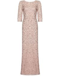 Adrianna Papell Three Quarter Sleeve Beaded Mermaid Gown - Pink