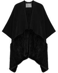 Herno Black Fur-trimmed Cape