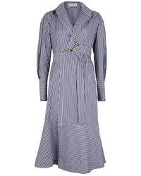 Palmer//Harding Calli Striped Cotton Wrap Dress - Blue