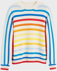 Chinti & Parker Rainbow Breton Stripe Chunky Knit Jumper - Blue