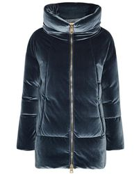 Herno - Blue Quilted Stretch-velvet Coat - Lyst