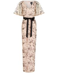 Adrianna Papell - Floral Sequin Gown - Lyst