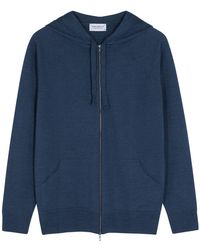 John Smedley Reservoir Navy Hooded Merino Wool Jumper - Blue