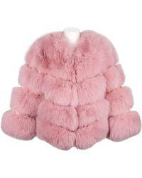 Popski London The Kensington Fox Fur Jacket In Peony Pink