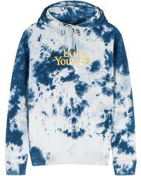 Paco Rabanne X Peter Saville Tie-dye Hooded Cotton Sweatshirt - Blue