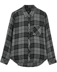 Rails Hunter Grey Checked Flannel Shirt