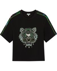 KENZO - Black Tiger-embroidered T-shirt - Lyst