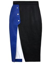 Jamie Wei Huang Natalie Overlapped Leather Skirt - Blue