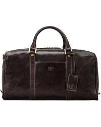 Maxwell Scott Bags Maxwell Scott Mens Classic Small Leather Holdall - Fleros Brown