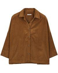 Three Graces London Sasha Brown Corduroy Shirt