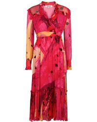 Diane von Furstenberg Meredith Printed Chiffon Midi Dress - Pink