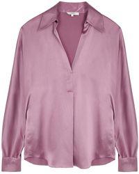 Vince Purple Silk-satin Shirt