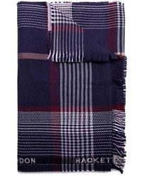 Hackett - Branded Trim Plaid Virgin Wool Scarf - Lyst