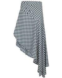 Monse - Gingham Asymmetric Cotton Midi Skirt - Lyst